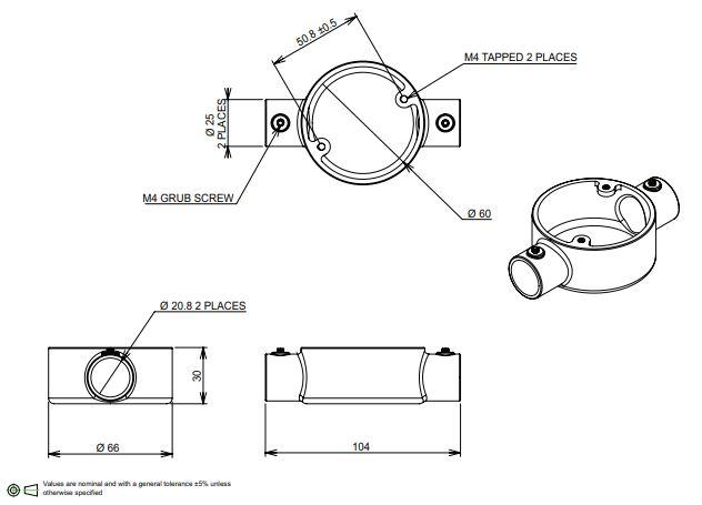 20mm Conduit through box