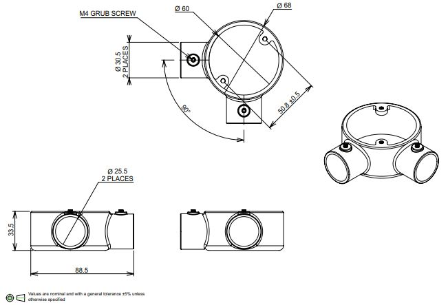 25mm Conduit angle box
