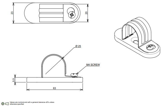 25mm conduit saddle